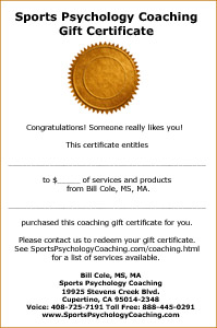 Sports Psychology Coaching Gift Certificate