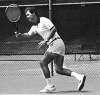 Young Bill Cole playing tennis